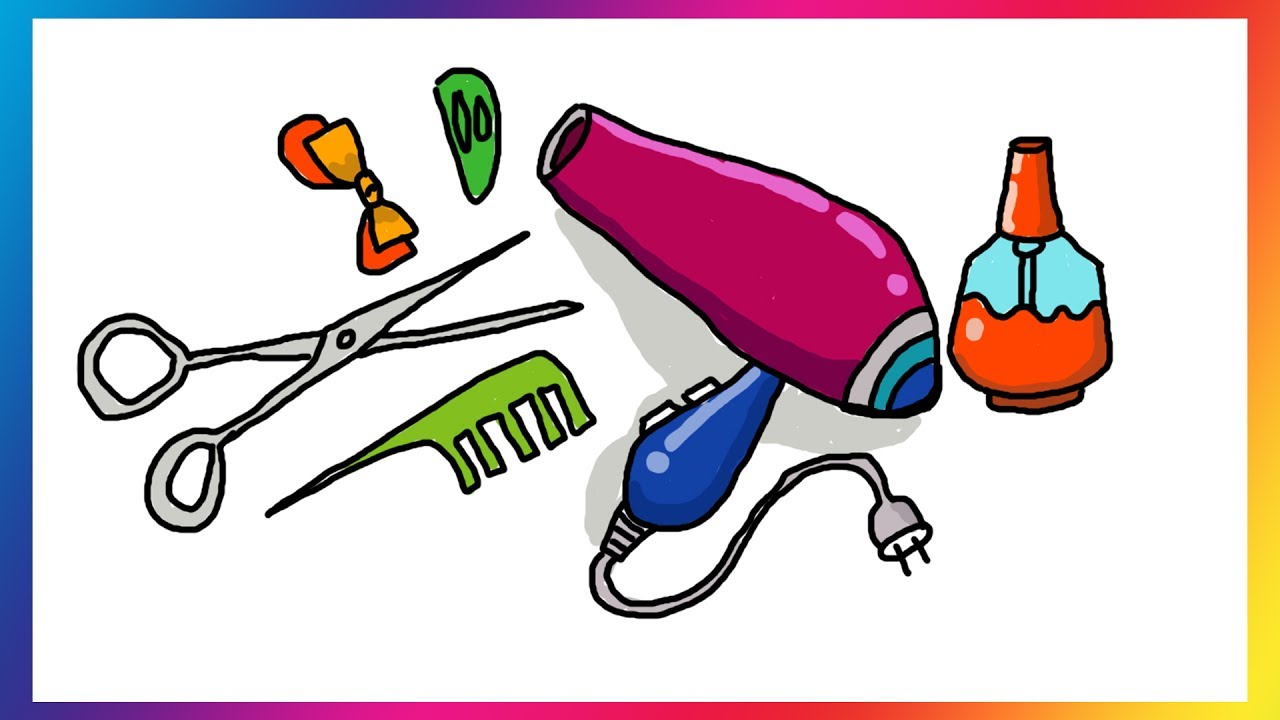 how to draw accessories for hair coloring pages set barber comb