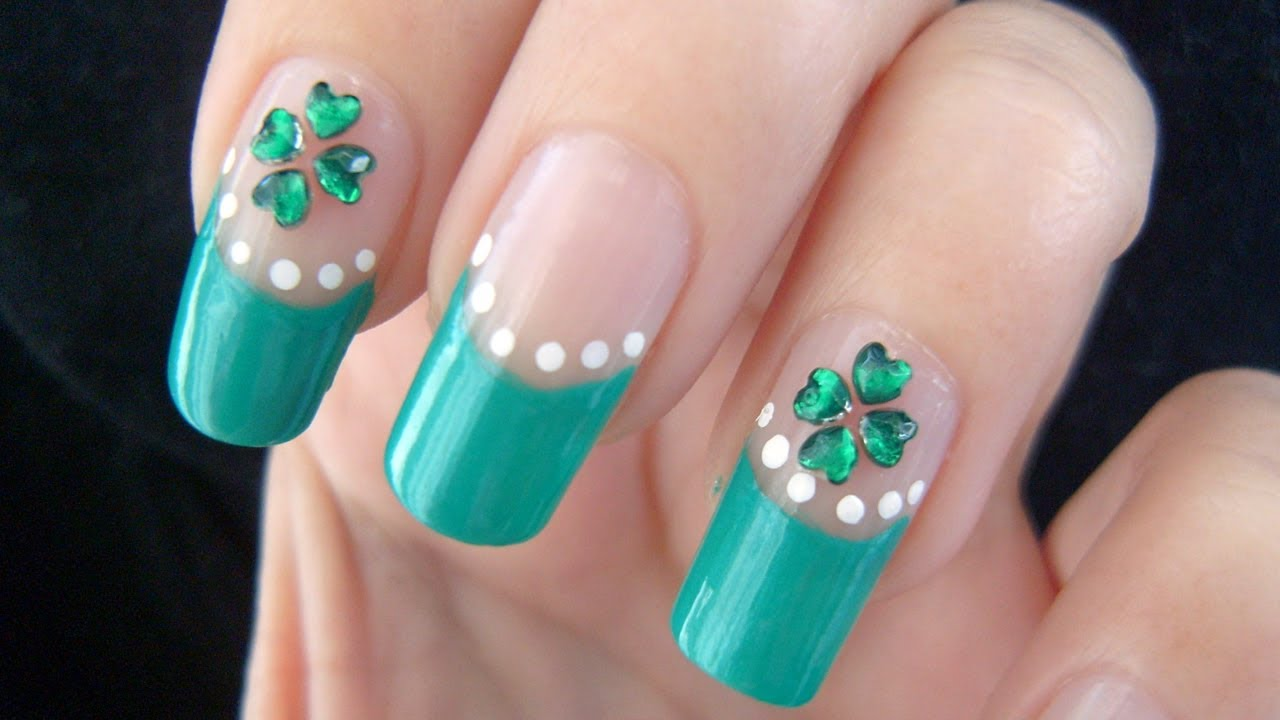 St Patricks Day Four Leaf Clover Nail Art Tutorial Youtube