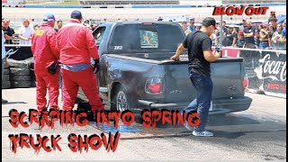 BLOWING OUT TIRES AT SCRAPING INTO SPRING TRUCK SHOW