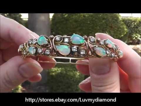 Ont Vintage Opal Diamond Bracelet 14k Gold 24gr Heavy Estate Jewelry