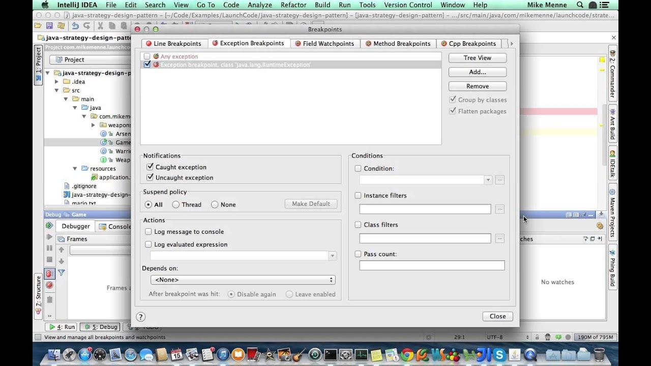LaunchCode Intellij IDEA Exception Breakpoints