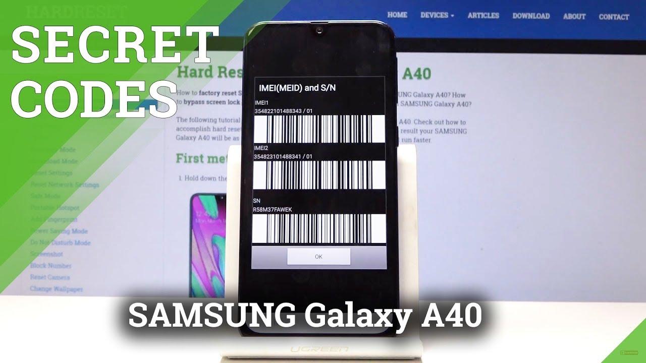 Codes SAMSUNG Galaxy A40 - HardReset info