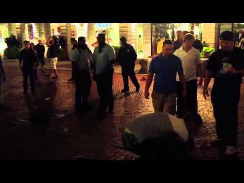 Guy gets knocked out in Faneuil Hall Boston