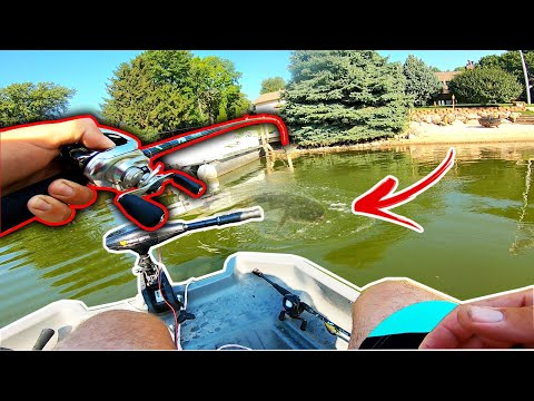 Surprise POND MONSTER Pulls My Mini Boat Across The City Pond!