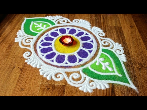 Simple and easy rangoli Designs with colours/ Diwali rangoli ...