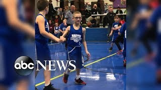 9-year-old with cerebral palsy scores during basketball game