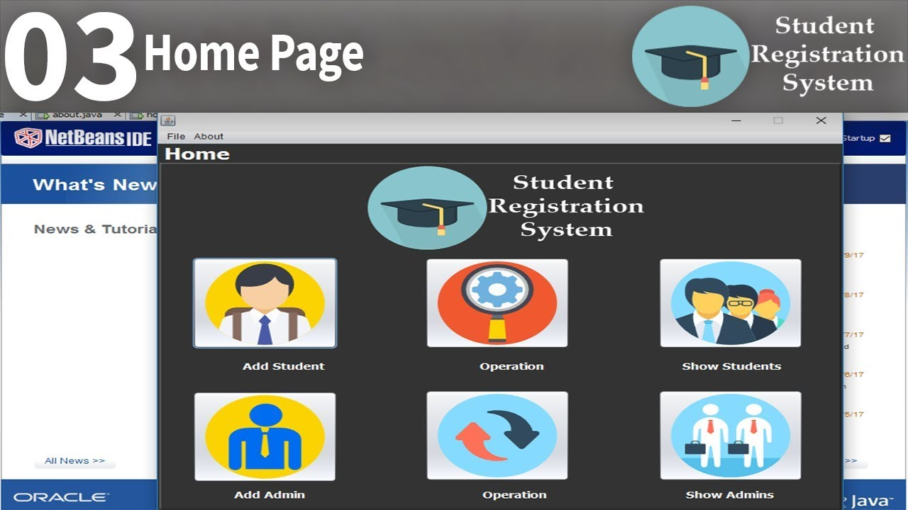 Home Page | Student Registration System in java part3