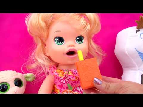 Baby Alive Super Snacks Snackin' Sara Poops Wets Diaper + Feed Doh Food Doll - Toy Play Video