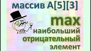 Задача14 Бл-сх С++ Mathcad Двумерный массив найти max наибольший отрицательный элемент и его индексы