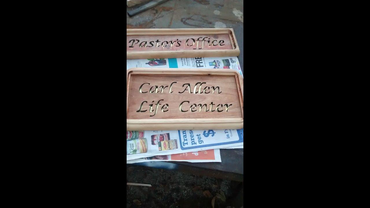Reclaimed wood door signs - YouTube