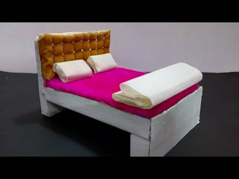 DIY Miniature Bed for Dolls | How to make miniature doll bed | Mini Bed for School Project