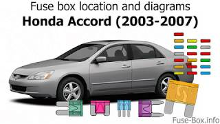 [DHAV_9290]  Fuse box location and diagrams: Honda Accord (2003-2007) - YouTube | 2006 Honda Accord V6 Fuse Box Diagram |  | YouTube