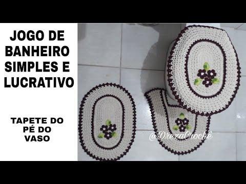 JOGO DE BANHEIRO DE CROCHÊ  SIMPLES E LUCRATIVO - PARTE 3 (TAPETE DO PÉ DO VASO)