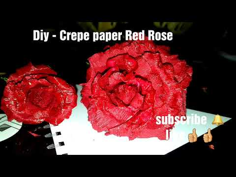 Diy -Crepe paper RED ROSE /PAPER CRAFT #15