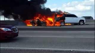 Corvette catches fire after rear end crash Tuesday 10.20.2015