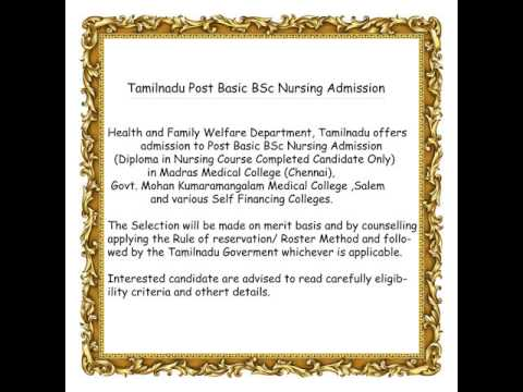 Tamilnadu Post Basic BSc nursing counselling admission procedure