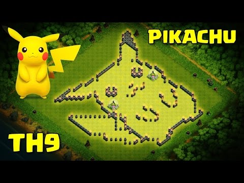 PIKACHU TASARIMI ! - 9.Seviye Köy Binası - Clash of Clans - Pokemon ( Pikachu wall art )