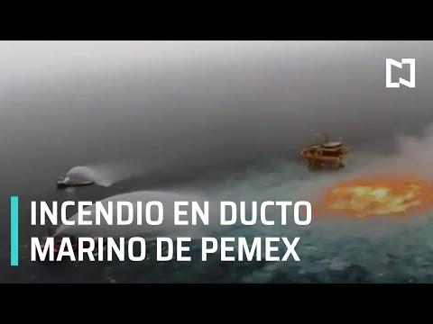 Incendio en línea submarina de Pemex en Campeche - Las Noticias