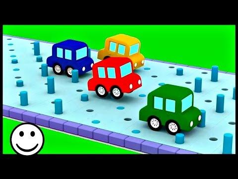 quatre voitures color es les poubelles dessin anim s pour enfants. Black Bedroom Furniture Sets. Home Design Ideas