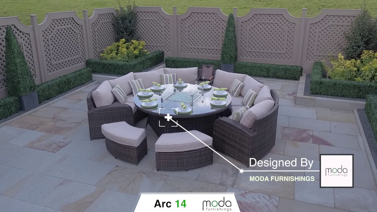 Arc 14 Half Moon Rattan Sofa Set With Gas Firepit Dining Table Youtube