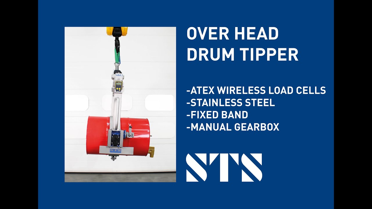 Stainless Steel Overhead Drum Dispenser w/ATEX Wireless Load Cells (Model: DRU02-SS-FB-WLC-Ex)
