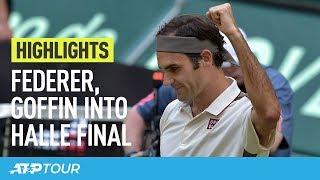 Federer & Goffin To Battle For Halle Title   HIGHLIGHTS   ATP