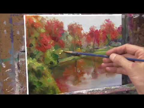 Trees and Pond TIME-LAPSE Oil Painting Demo