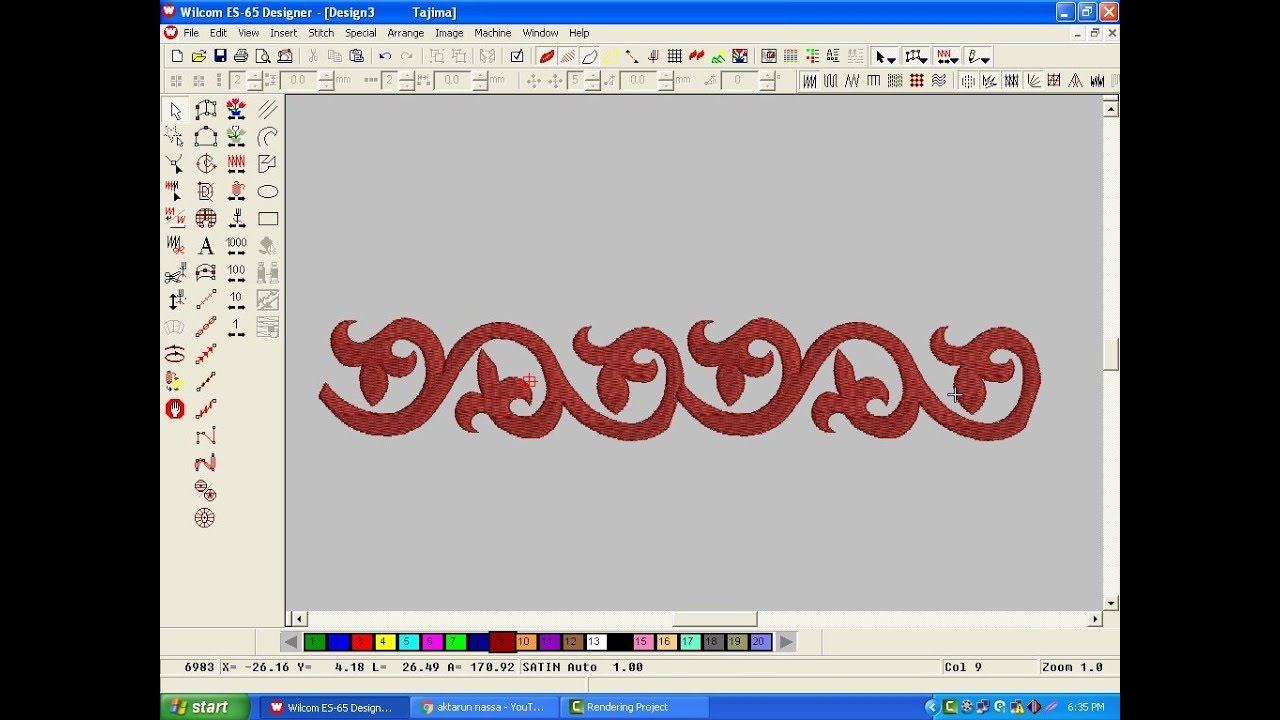 Wilcom Embroidery Designs Embroidery Machine Design Embroidery Work 39 Youtube