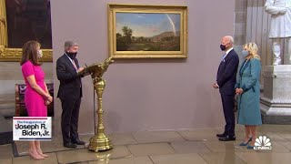 Congressional leaders present gifts to President Joe Biden, VP Kamala Harris