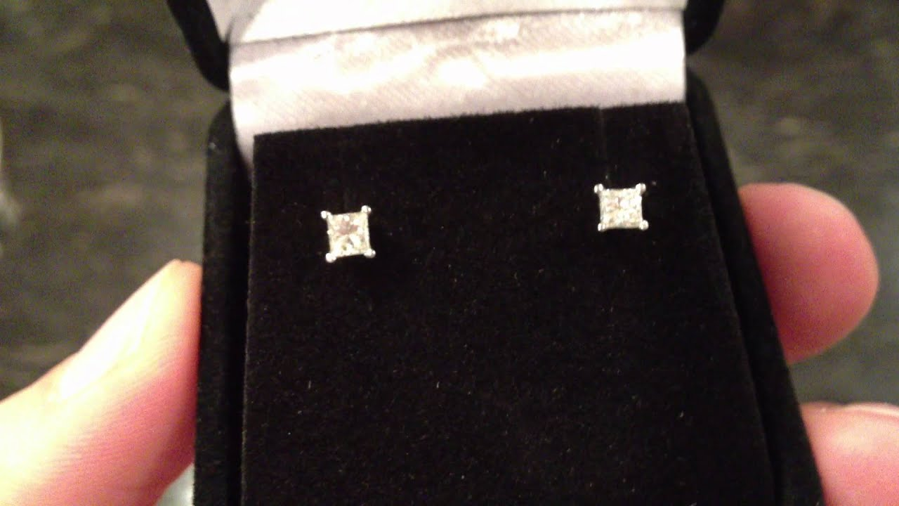 stud diamond halo carat earrings studs princess fds cut gold g white pave