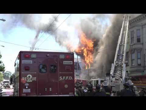 5 ALARM FIRE IN SAN FRANCISCO, MISSION ST. 6-18-2016 (4K)