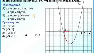 Задание 10 Квадратичная функция  Промежутки возрастания убывания