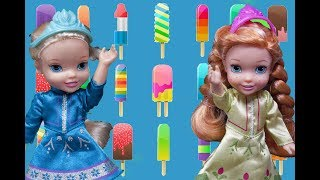 Elsa and Anna toddlers at the popsicle factory with Barbie, Chelsea and the Disney princess toddlers