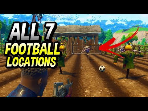 FORTNITE ALL 7 FOOTBALL PITCH LOCATIONS! SCORE GOALS ON 5 DIFFERENT FOOTBALL PITCHES!