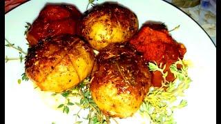 Cartofi la cuptor cu roșii negre rețetă simplă