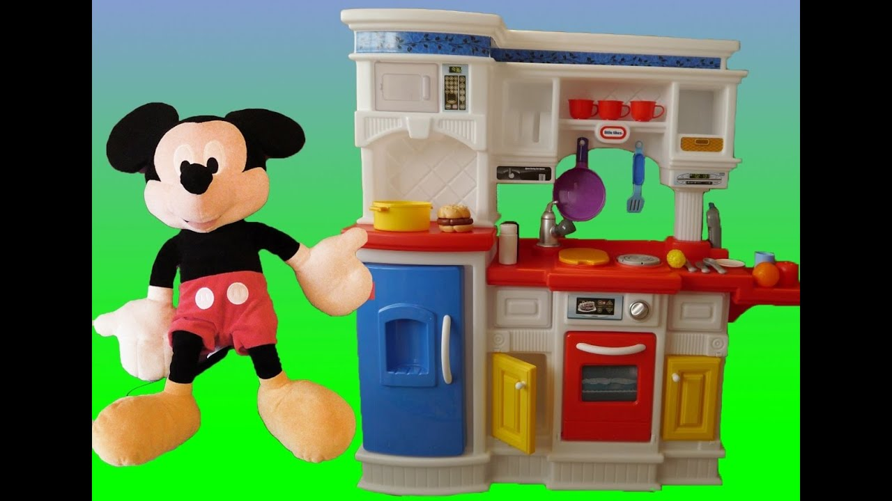Superbe MICKEY MOUSE COOKING FOOD ON LITTLE TIKES KITCHEN (Gourmet Prep U0027n Serve  Kitchen)   YouTube