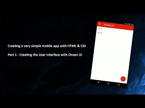 Creating A Very Simple App With HTML, CSS & Javascript - Part 1/3 - Onsen UI