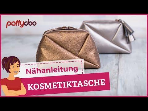 """Kosmetiktasche selber nähen – """"Geo Bag"""" aus Kunstleder mit Reißverschluss"""