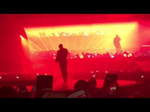 Travis Scott FALLS Through Stage At Drake's Concert