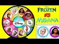 DISNEY Frozen VS Moana Spinning Wheel Game Punch Box Toy Surprises