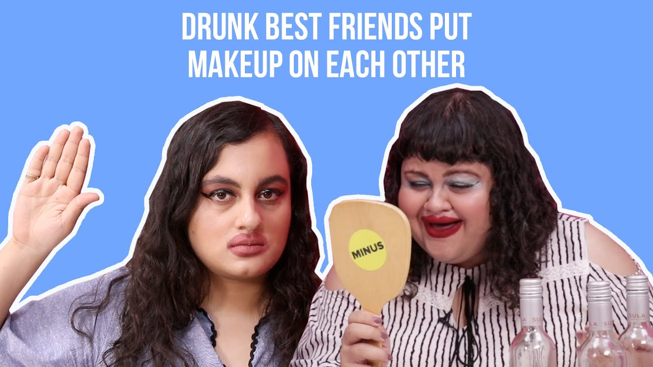 putting makeup on a friend