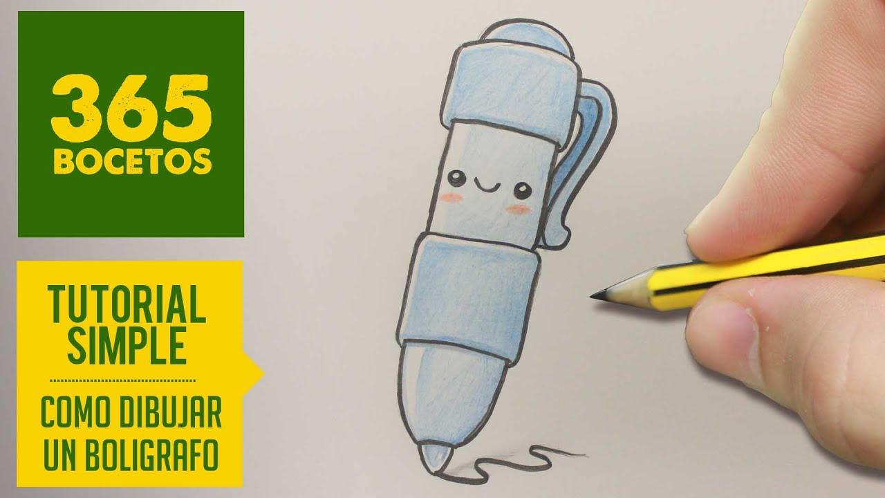 Dibujo De Bolígrafo Infantil Y Libreta Para Colorear: COMO DIBUJAR UN BOLIGRAFO KAWAII PASO A PASO