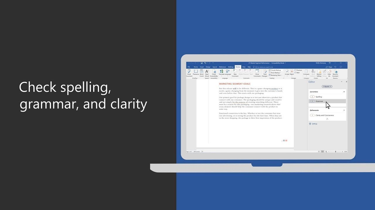 Check spelling, grammar, and clarity in Microsoft Word