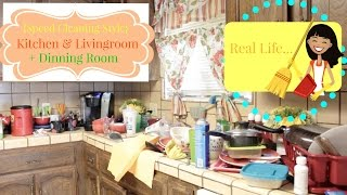 Cleaning My Kitchen & living room +Dining room{Speed Style}