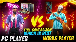 Pc player vs Mobile player  Comparison which is best -Garena free fire