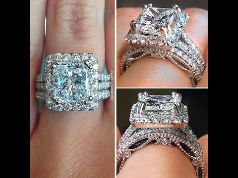 Art deco silver ladies wedding ring set