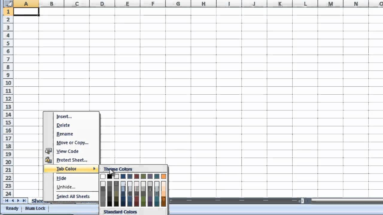 Coloring sheet tabs in excel - Excel 2007 Change The Color Of A Worksheet Tab