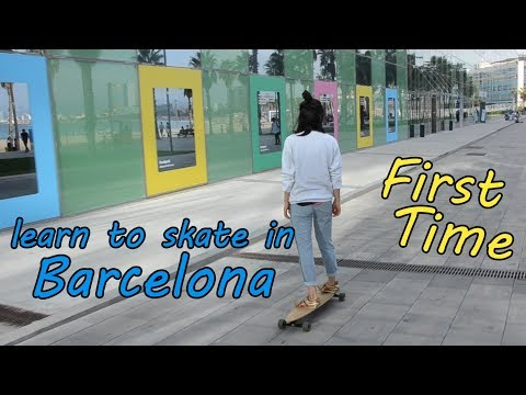 First time skating, learning in Barcelona