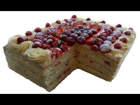 Çiyələkli qaymaqlı tort.Meyveli tort.Çilekli pasta tarifi