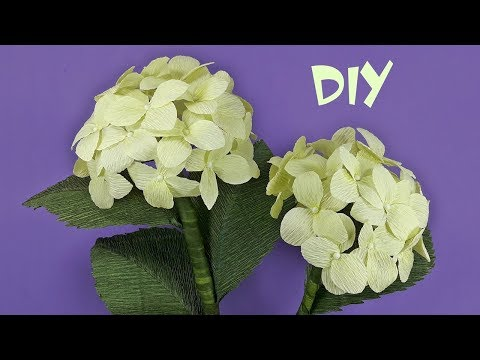 How to make Hydrangea flowers from crepe paper   DIY Crepe paper flower Tutorials